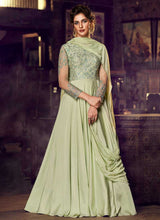 Load image into Gallery viewer, Light Green Embroidered Anarkali Style Gown