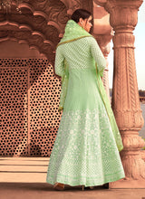 Load image into Gallery viewer, Light Green Heavy Embroidered Gown Style Anarkali