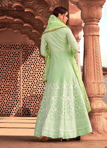 Light Green Heavy Embroidered Gown Style Anarkali