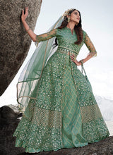 Load image into Gallery viewer, Light Green Heavy Embroidered Kalidar Lehenga Style Anarkali