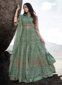 Light Green Heavy Embroidered Kalidar Lehenga Style Anarkali