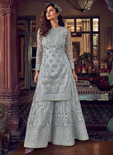 Load image into Gallery viewer, Light Grey Heavy Embroidered Sharara Style Suit