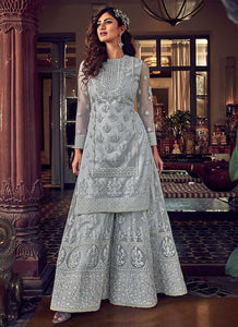 Light Grey Heavy Embroidered Sharara Style Suit
