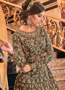Light Grey and Gold Heavy Embroidered Anarkali