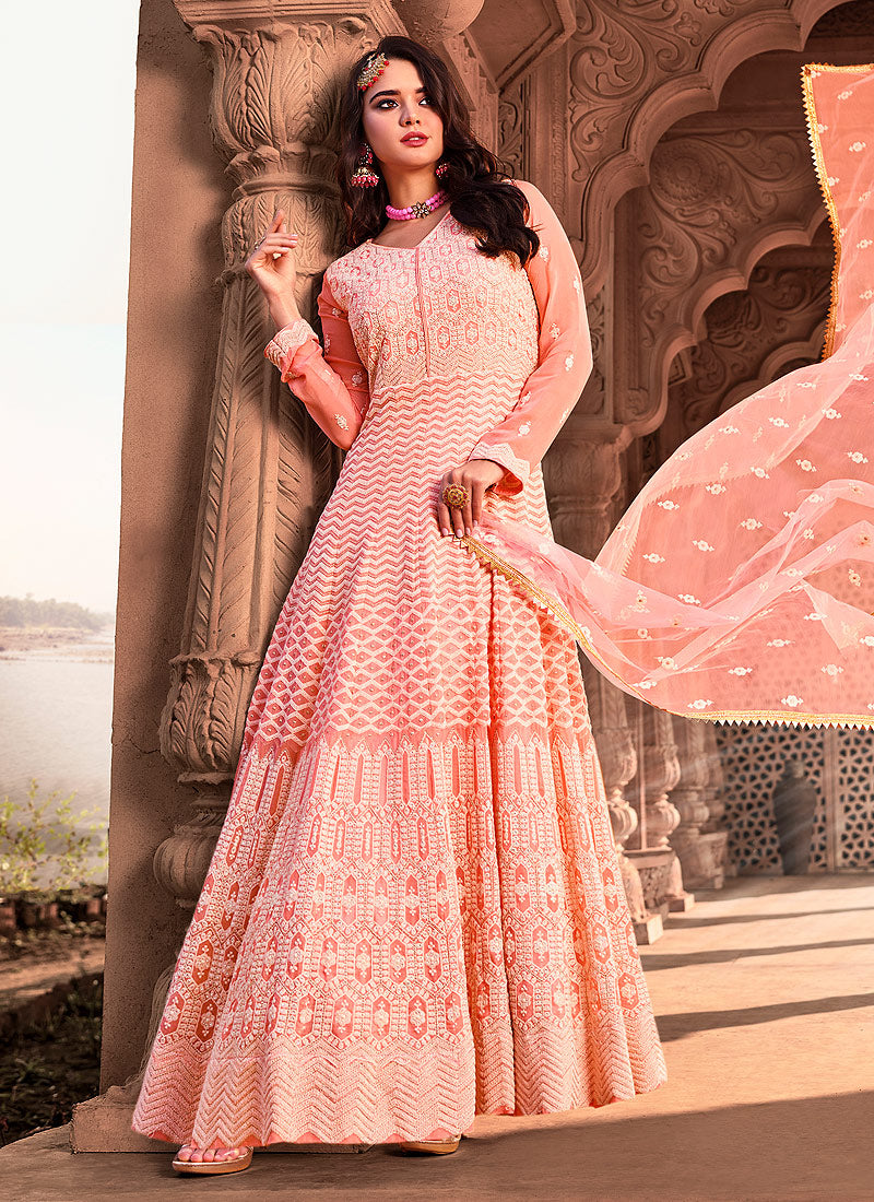 Light Peach Heavy Embroidered Gown Style Anarkali