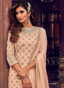 Light Peach Heavy Embroidered Sharara Style Suit