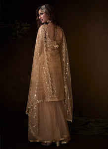 Light Peach Sequins Work Embroidered Gharara Style Suit