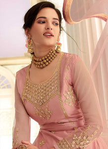 Light Pink Colored Heavy Embroidered Lehenga/ Pant Style Suit