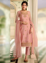 Load image into Gallery viewer, Light Pink Colored Heavy Embroidered Lehenga/ Pant Style Suit