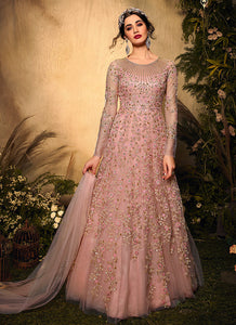 Light Pink Floral Embroidered Gown Style Anarkali Suit