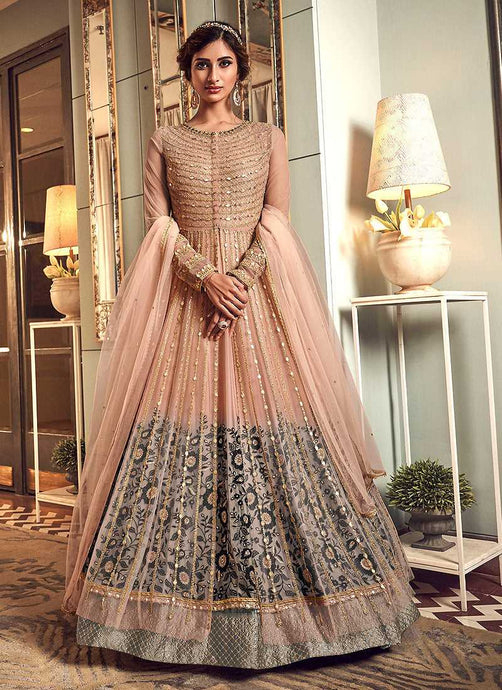 Light Pink Heavy Embroidered Gown Style Anarkali Suit