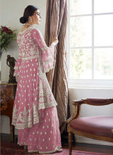 Load image into Gallery viewer, Light Pink Heavy Embroidered Sharara Style Suit 2