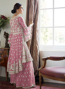 Light Pink Heavy Embroidered Sharara Style Suit 2