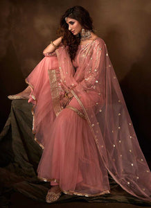 Light Pink Sequins Work Embroidered Gharara Style Suit