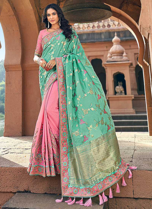 Light Pink and Green Embroidered Bollywood Style Saree
