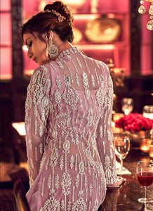 Light Purple Heavy Embroidered High Slit Palazzo Style Suit 3