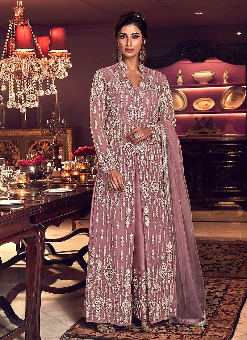 Light Purple Heavy Embroidered High Slit Palazzo Style Suit