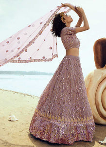 Light Purple Sequins Embroidered Stylish Lehenga Choli