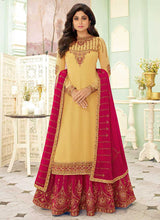 Load image into Gallery viewer, Light Yellow and Pink Embroidered Lehenga Style Anarkali Suit