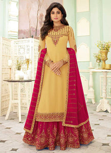 Light Yellow and Pink Embroidered Lehenga Style Anarkali Suit
