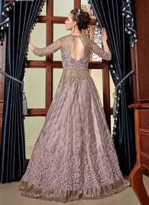 Lilac Heavy Embroidered Lehenga/ Pant Style Anarkali 3