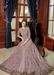 Lilac Heavy Embroidered Lehenga/ Pant Style Anarkali 4