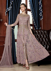 Lilac Heavy Embroidered Lehenga/ Pant Style Anarkali 2