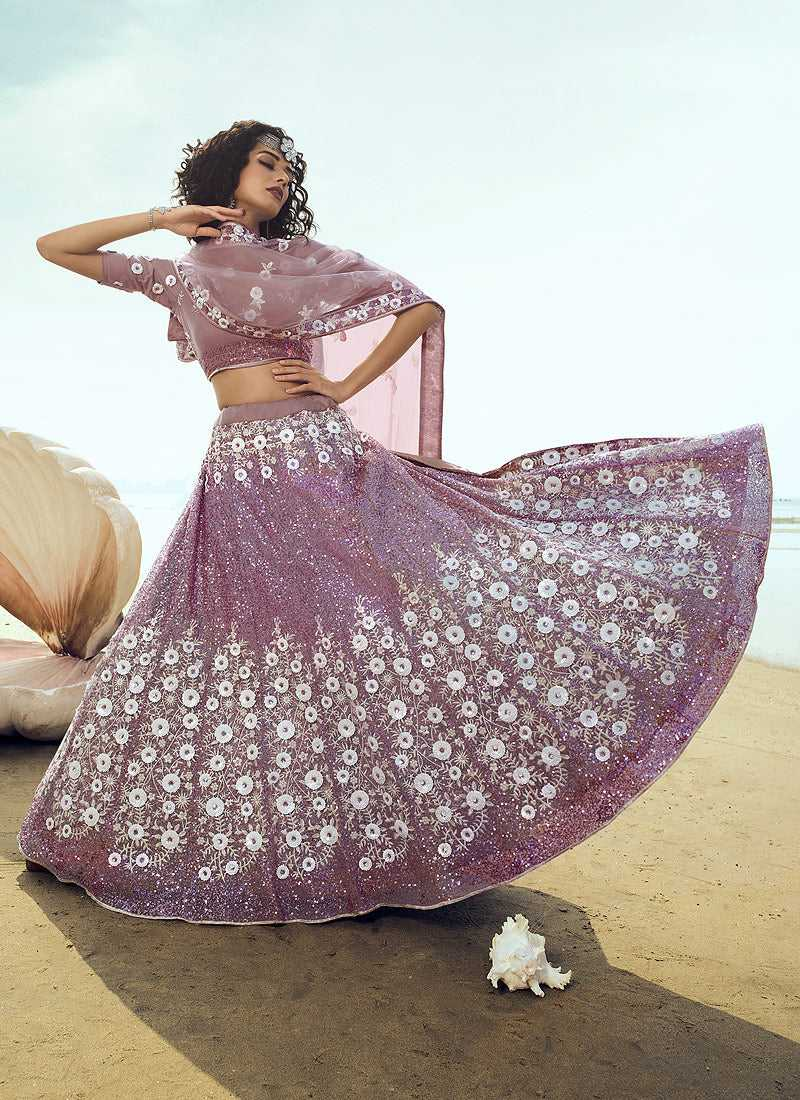 Lilac Purple Sequins Embroidered Stylish Lehenga Choli
