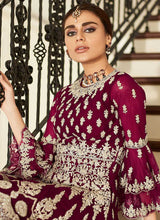 Load image into Gallery viewer, Magenta Pink Heavy Embroidered Sharara Style Suit