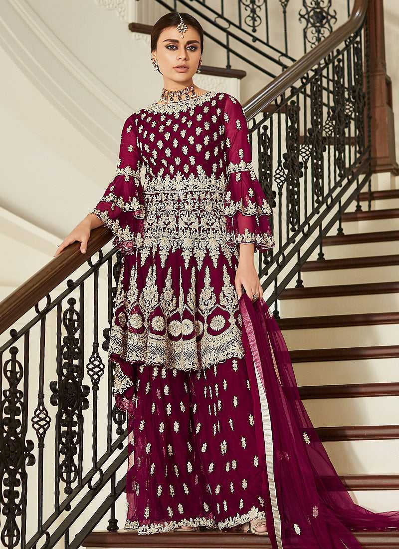 Magenta Pink Heavy Embroidered Sharara Style Suit
