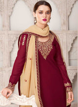 Load image into Gallery viewer, Maroon And Cream Embroidered Straight Pant Style Suit
