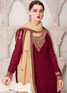 Maroon And Cream Embroidered Straight Pant Style Suit
