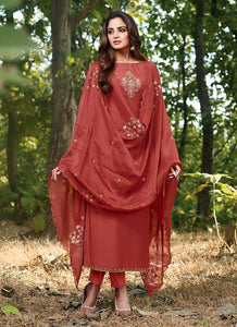 Maroon Embroidered Straight Pant Style Suit