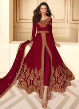 Load image into Gallery viewer, Maroon Heavy Embroidered High Slit Style Anarkali