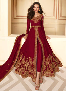Maroon Heavy Embroidered High Slit Style Anarkali
