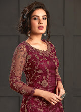 Load image into Gallery viewer, Maroon Heavy Embroidered Jacket Style Anarkali Suit
