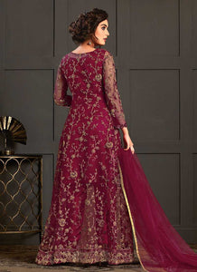 Maroon Heavy Embroidered Jacket Style Anarkali Suit