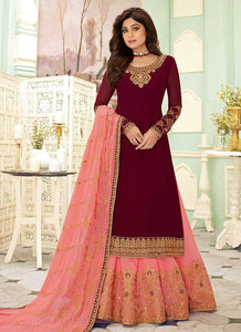 Maroon and Pink Embroidered Lehenga Style Anarkali Suit