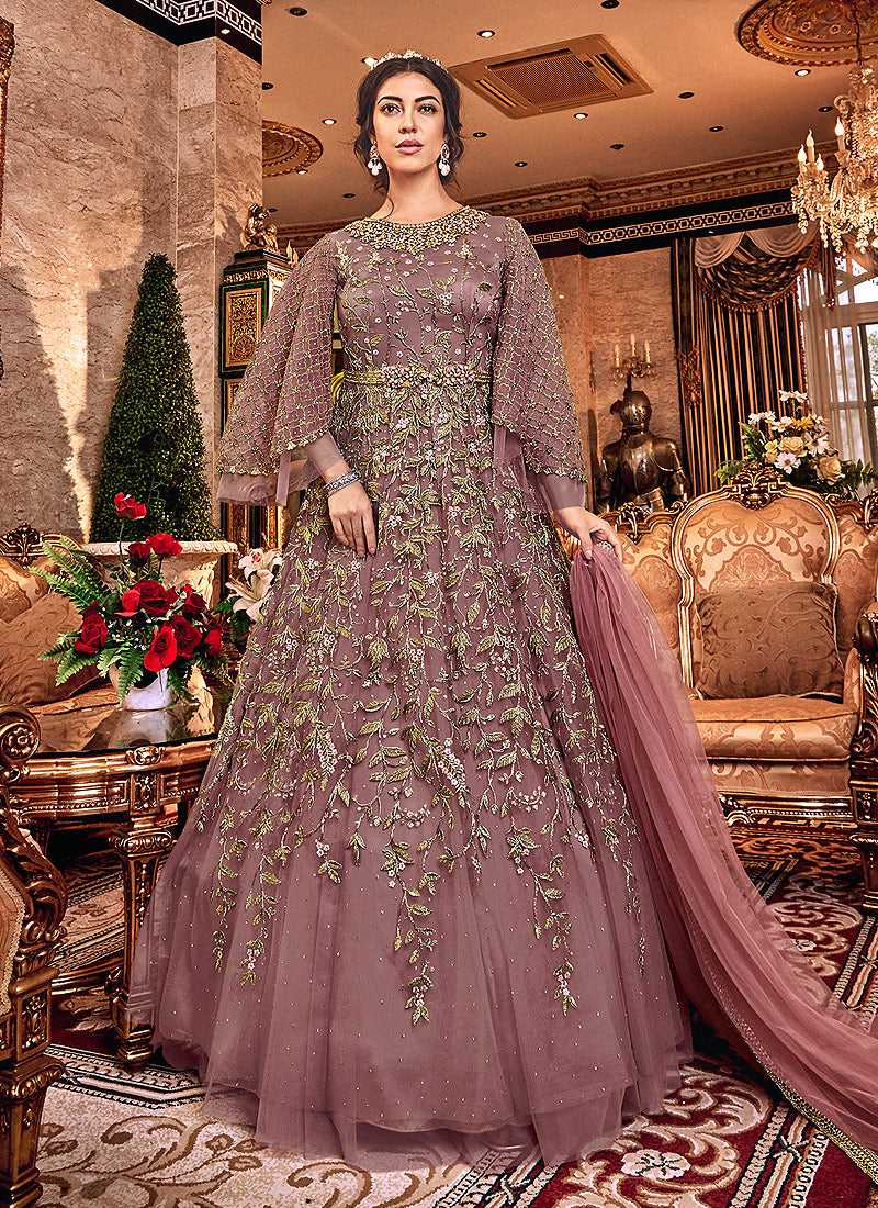 Mauve and Gold Heavy Embroidered Anarkali