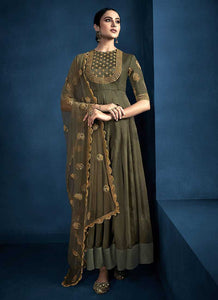 Mehendi Color Kalidar Embroidered Anarkali Style Suit