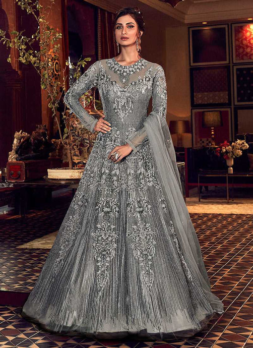 Metallic Grey Heavy Embroidered Gown Style Anarkali Suit