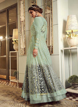 Load image into Gallery viewer, Mint Green Heavy Embroidered Gown Style Anarkali Suit