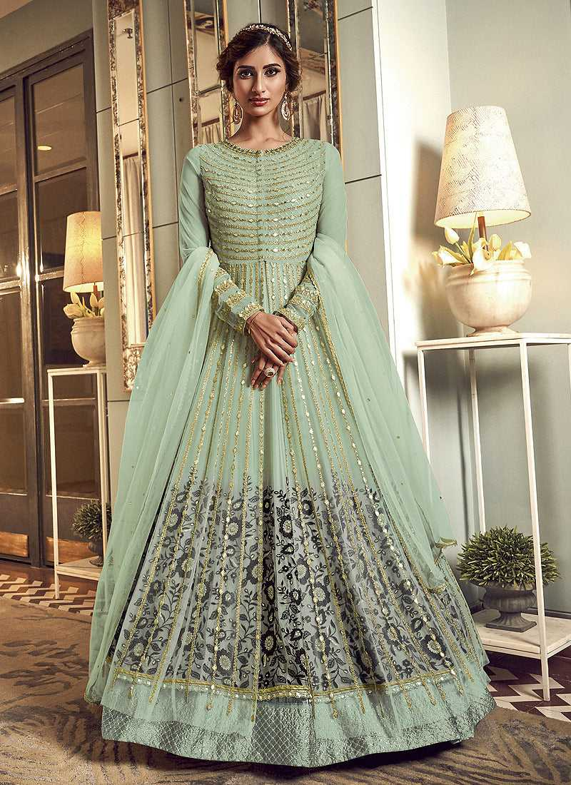 Mint Green Heavy Embroidered Gown Style Anarkali Suit