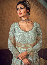 Load image into Gallery viewer, Mint Green Heavy Embroidered Jacket Style Anarkali Suit 2
