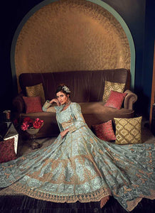 Mint Green Heavy Embroidered Jacket Style Anarkali Suit 4