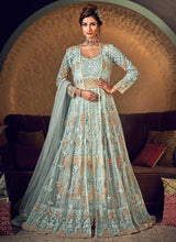 Load image into Gallery viewer, Mint Green Heavy Embroidered Jacket Style Anarkali Suit