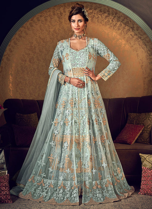 Mint Green Heavy Embroidered Jacket Style Anarkali Suit
