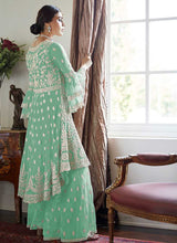 Load image into Gallery viewer, Mint Green Heavy Embroidered Sharara Style Suit