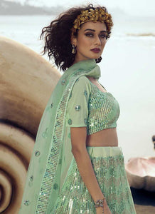 Mint Green Sequins Embroidered Stylish Lehenga Choli