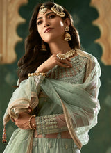 Load image into Gallery viewer, Mint Green and Gold Embroidered Lehenga 2